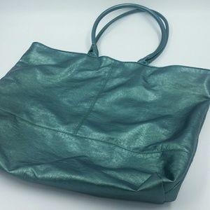 SAKS FIFTH AVENUE l Teal Metallic Tote Bag B6